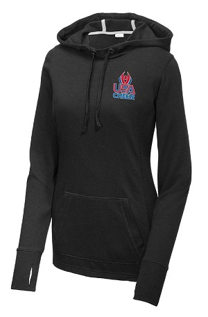 Ladie's POSICHARGE ® TRI-BLEND WICKING FLEECE HOODED PULLOVER