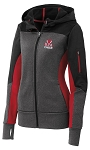 Ladies Tech Fleece Colorblock Full-Zip Hooded Jacket, Blk/Gr/Red